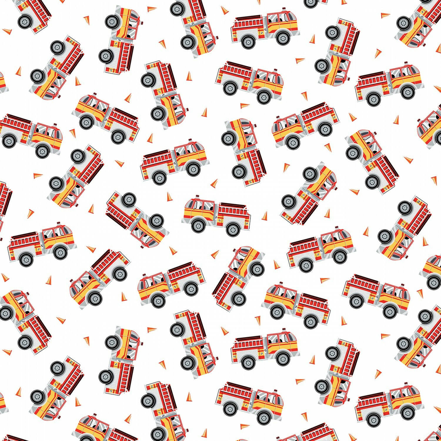 Fire Trucks on White - GLOW IN THE DARK Fabric - 1/2m cut 56650
