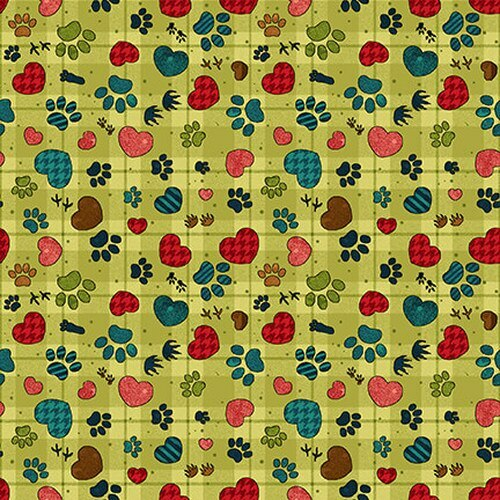 Lime Green Paw Prints - Rescued and Loved by Henry Glass - 1/2m cut 56661