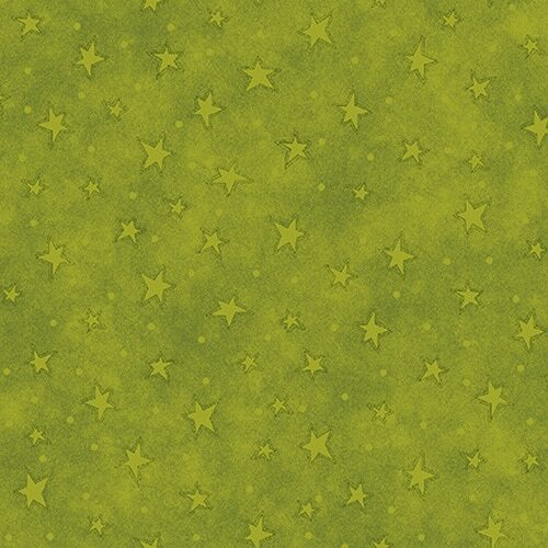 Lime Green Stars - Rescued and Loved by Henry Glass - 1/2m cut 56666