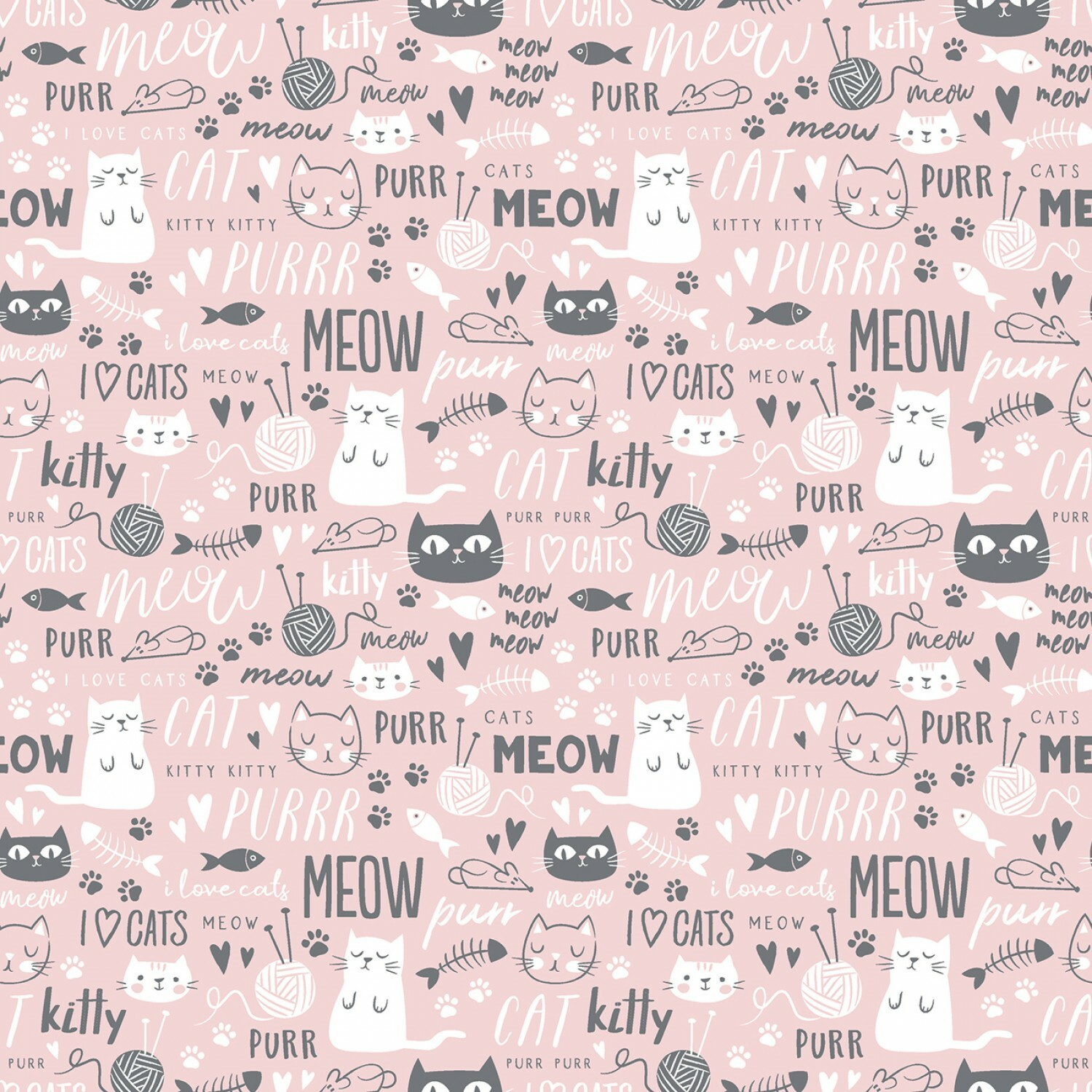 Purrfect Day - Pink - 1/2m cut 56668