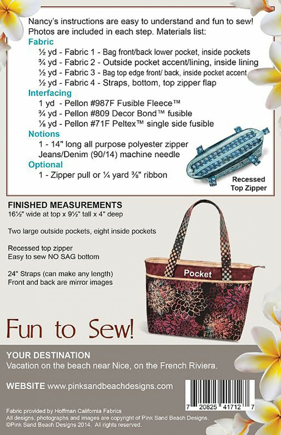 Zippered Tote Bag - ONLINE CLASS