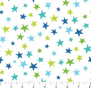 Go Fish - Stars on White - 1/2m cut 56693