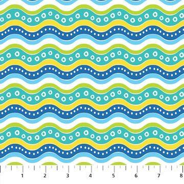 Go Fish - Multi Coloured Waves - 1/2m cut 56696