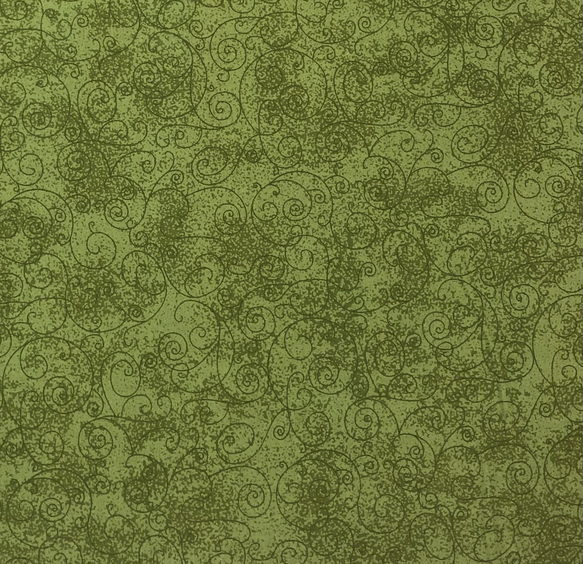 """Flannel 108"""" - Leaf Green Swirls - 1/2m cut 56730"""