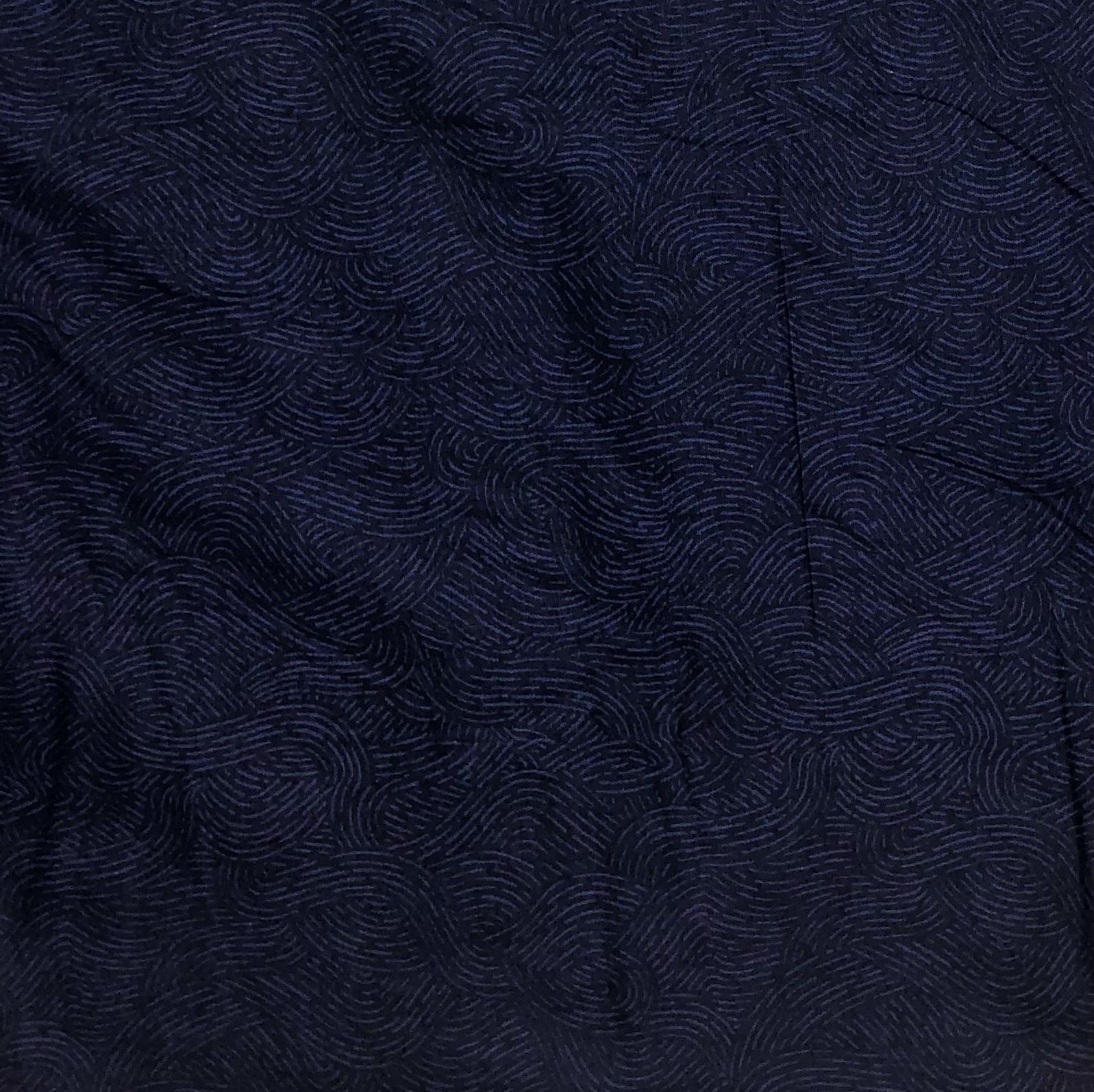 "Flannel 108"" - Navy Waves - 1/2m cut 56734"