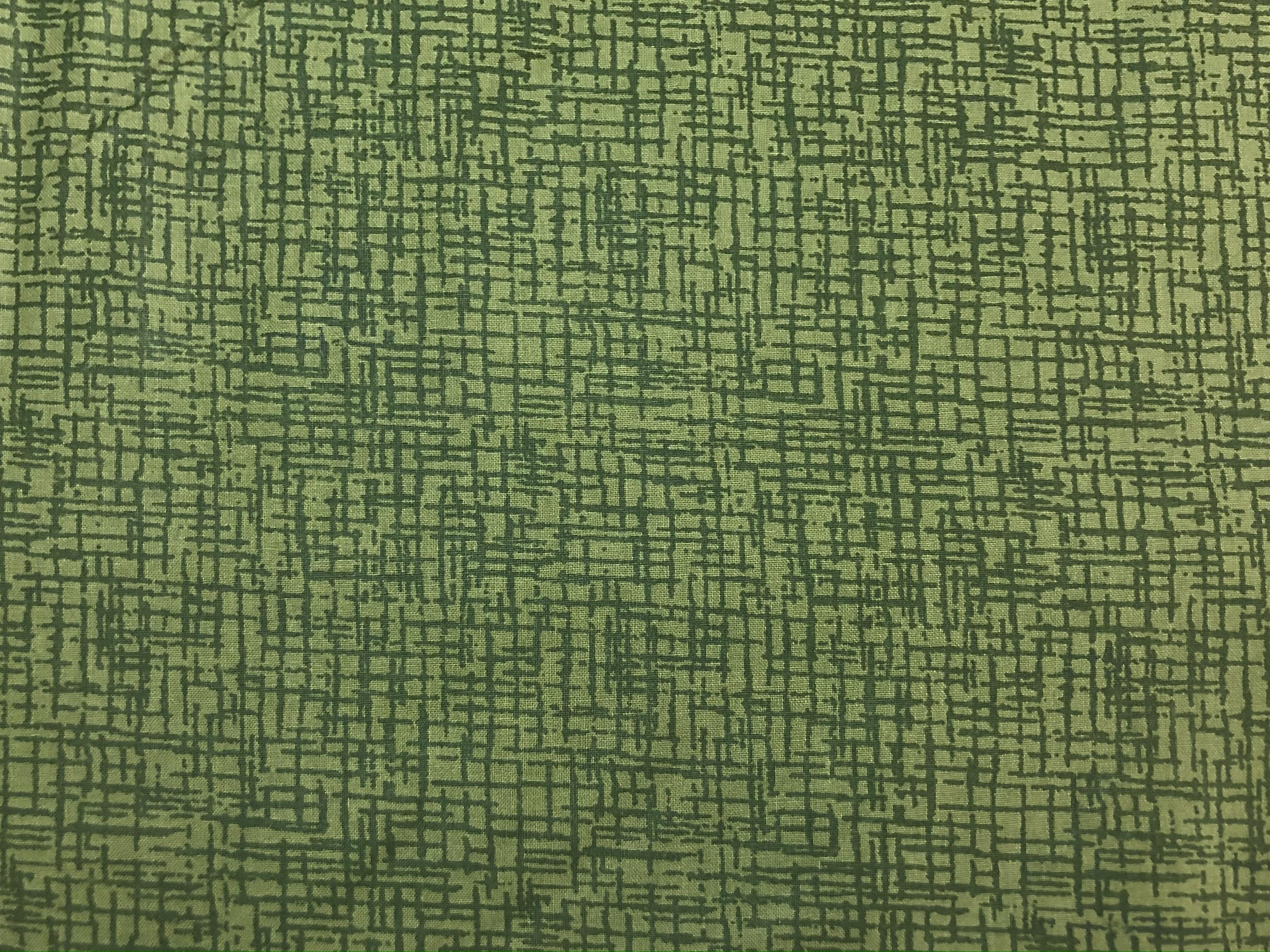 """Cotton 108"""" - Green Cross Hatch - 1/2m cut 56787"""