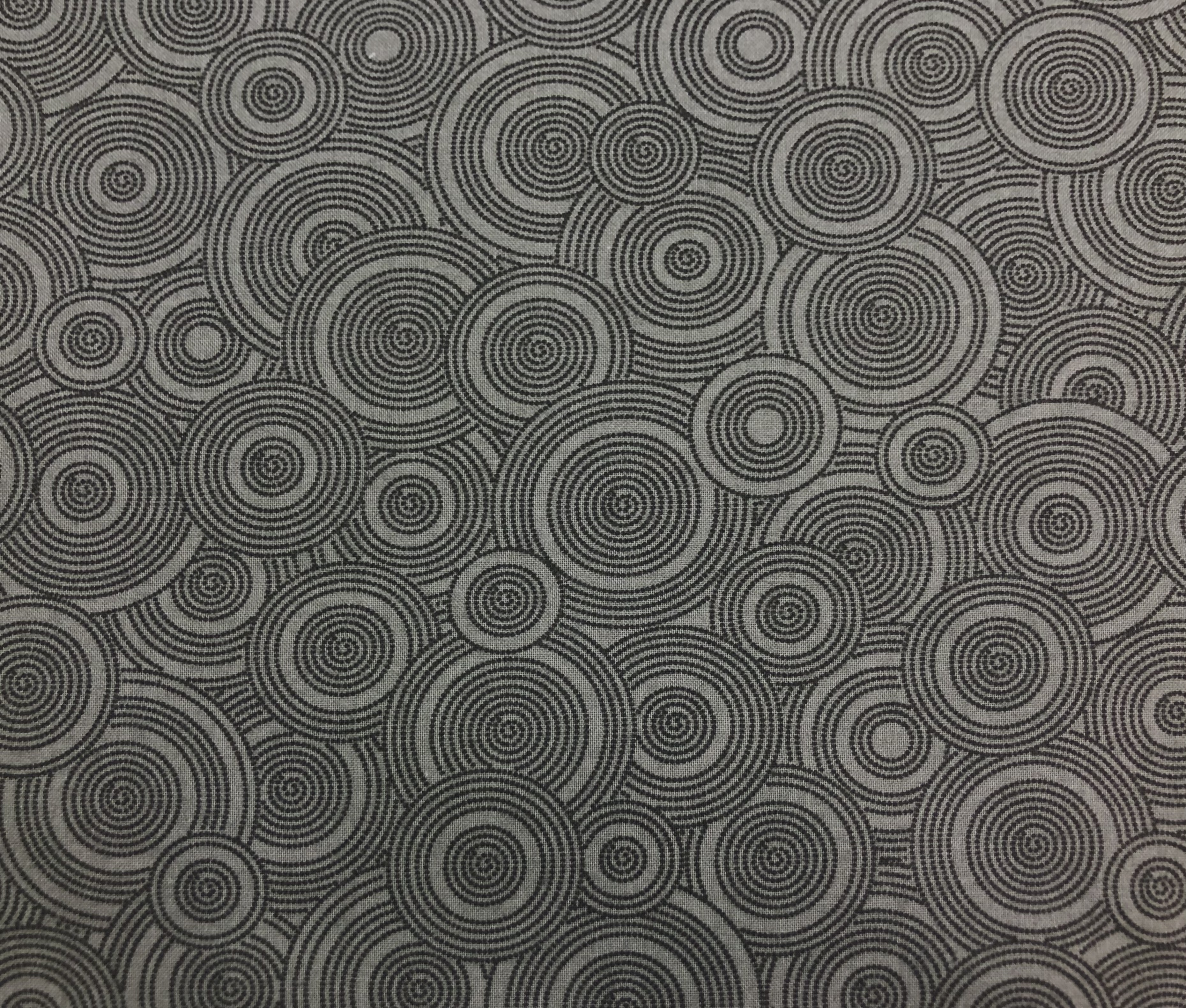 "Cotton 108"" - Grey Circles - 1/2m cut 56788"