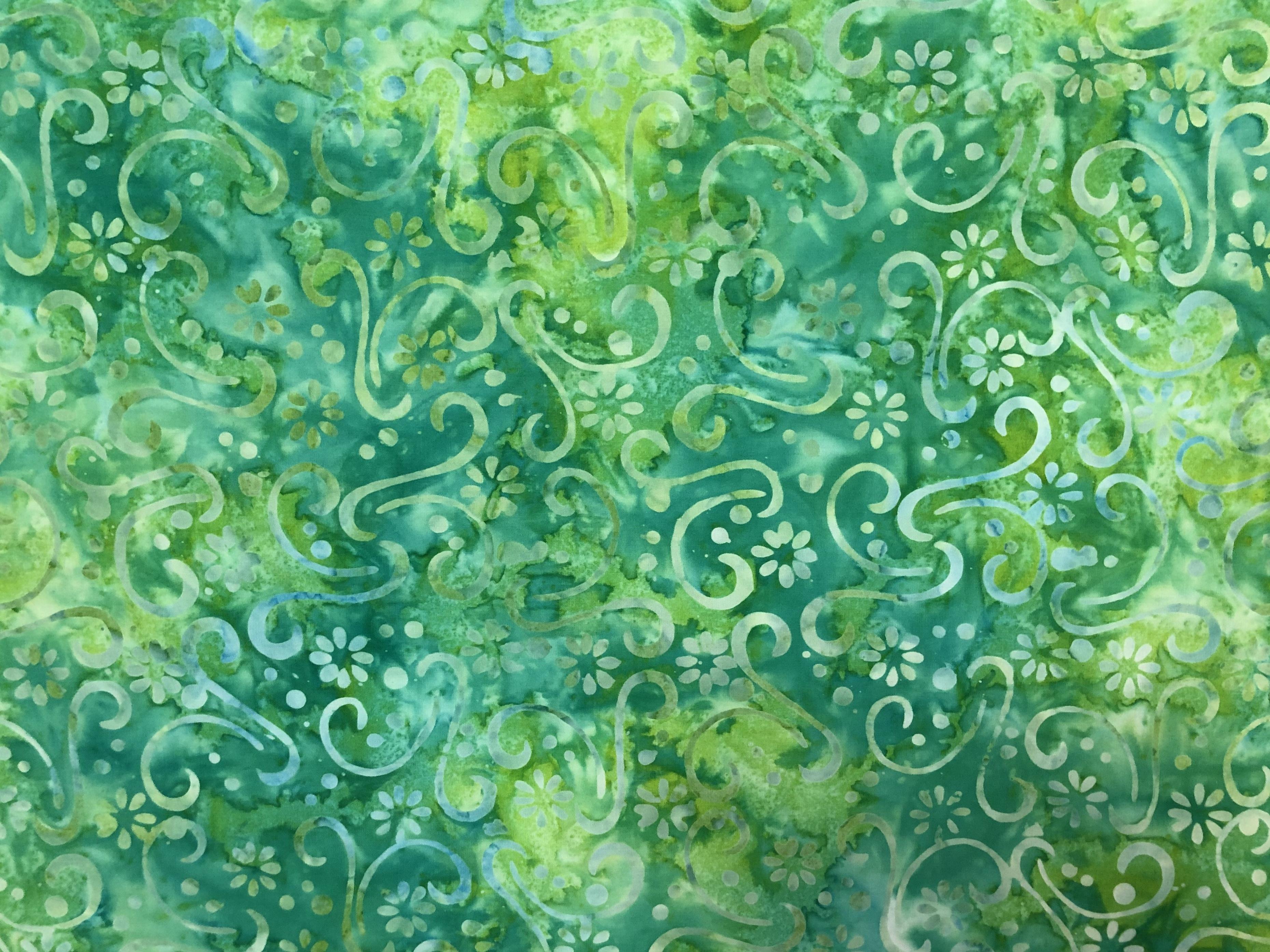 Green - Spring Dawn - Batik - 1/2m cut 56796