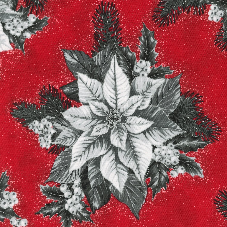 Red Poinsettia - Holiday Flourish - 1/2m cut 56907