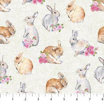 Bunny Love - Bunnies on White - 1/2m cut 56922