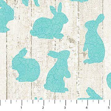 Bunny Love - Aqua Bunnies - 1/2m cut 56918