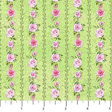 Bunny Love - Green Floral Stripe - 1/2m cut 56924