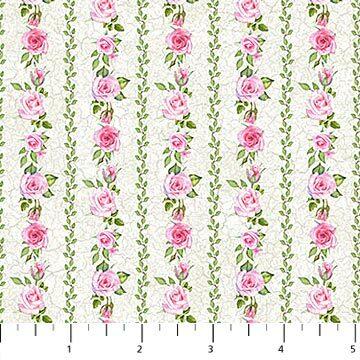 Bunny Love - White Floral Stripe - 1/2m cut 56925