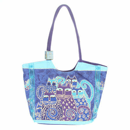 Laurel Burch Bag - Scooped Indigo Cats 56945