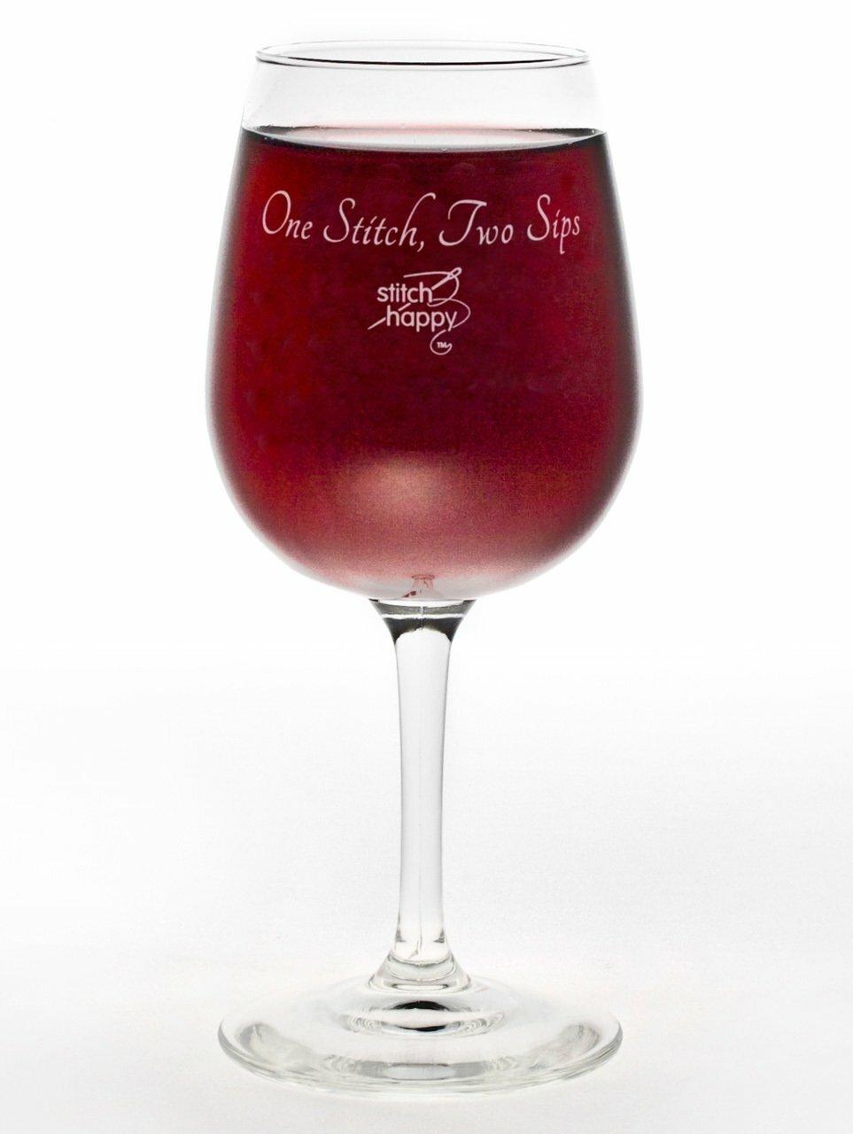 One Stitch, Two Sips Wine Glass 56957