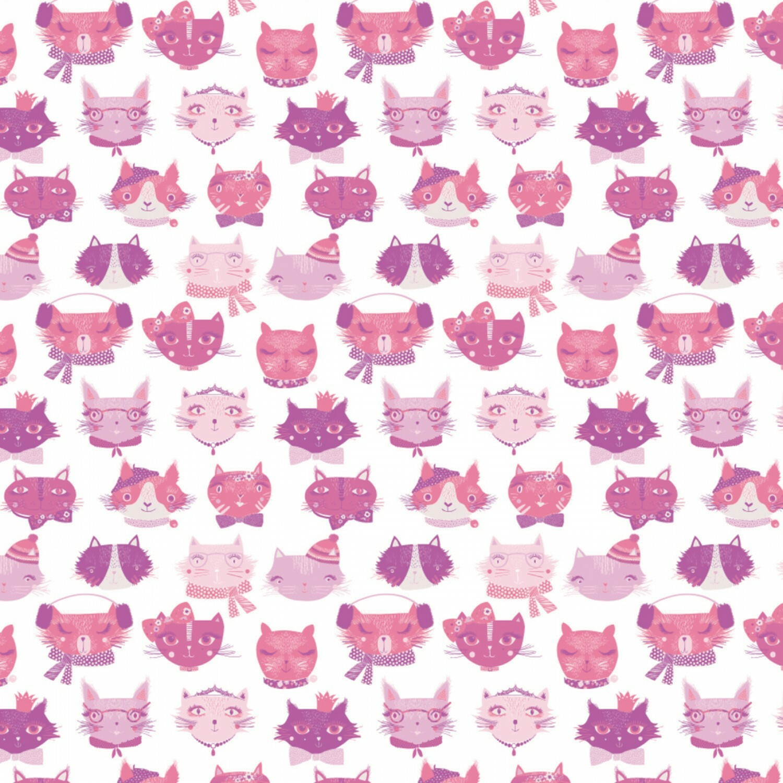 Pink Cat Faces - 1/2m cut 56970
