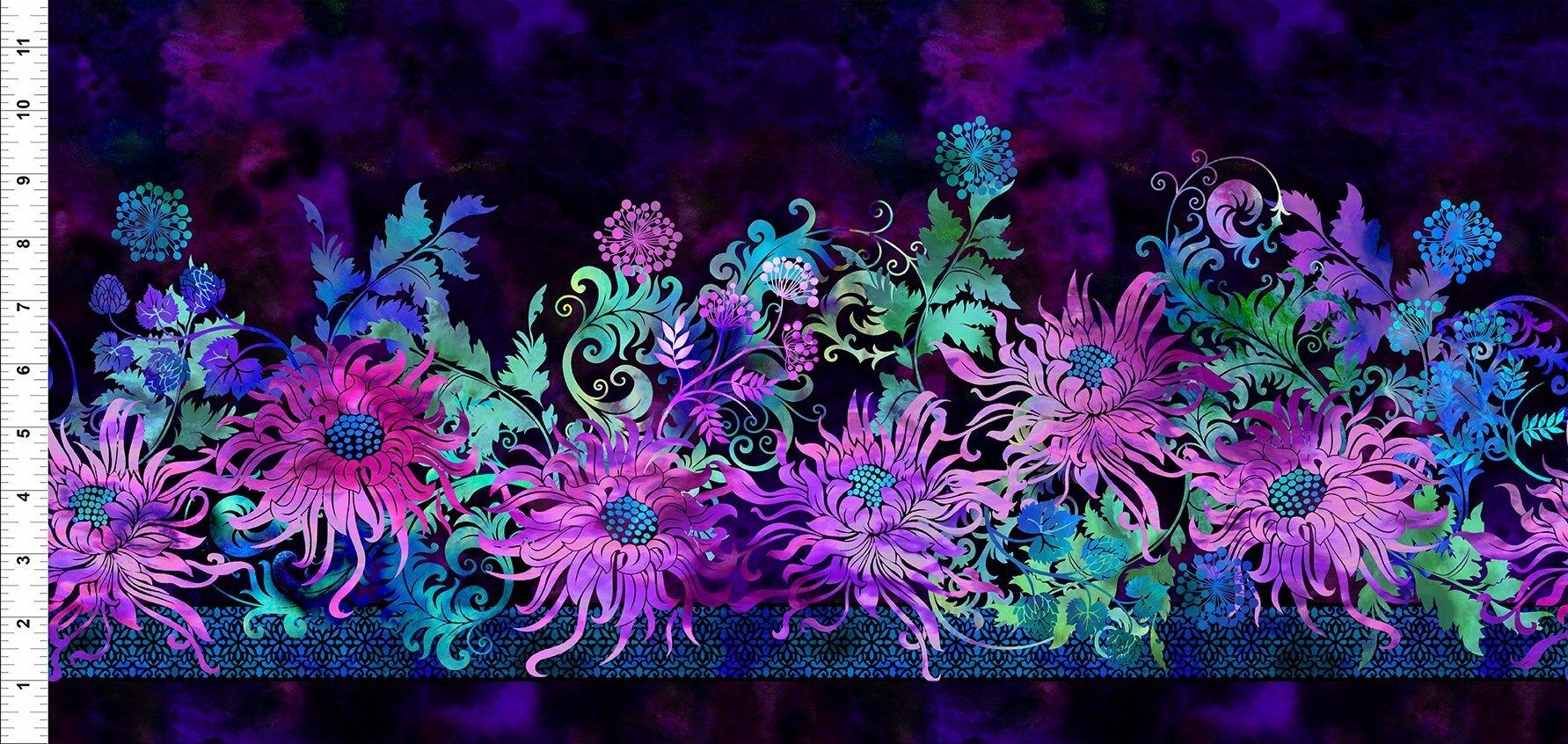 Florigraphix V - Purple Floral Border (1-2) - 1/2m cut 57062