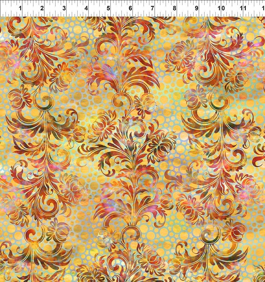 Florigraphix V - Orange Dotted Flourish (7-1) - 1/2m cut 57077