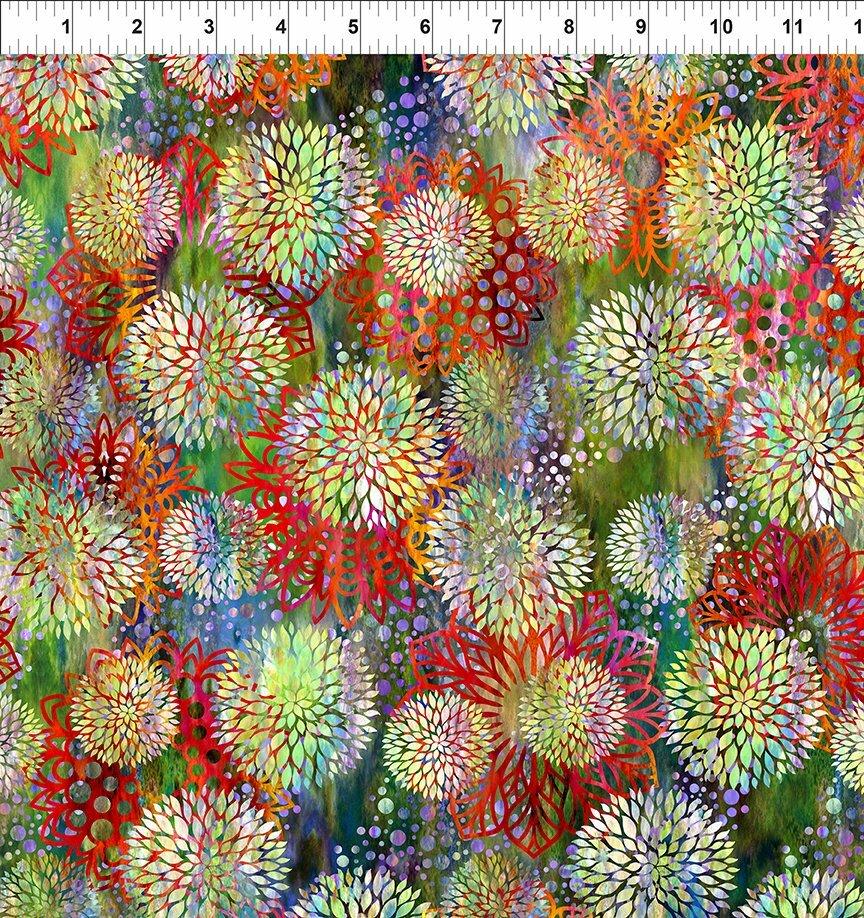 Florigraphix V - Multicoloured Chrysanthemum (3-1) - 1/2m cut 57065