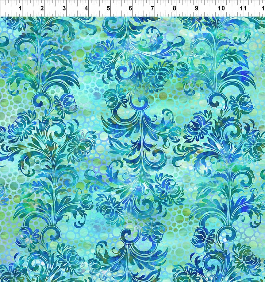 Florigraphix V - Blue Dotted Flourish (7-2) - 1/2m cut 57078