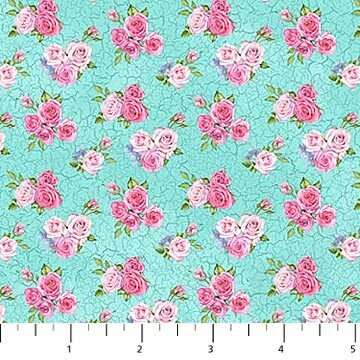 Bunny Love - Flowers on Aqua - 1/2m cut 56926