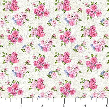 Bunny Love - Flowers on White - 1/2m cut 57141