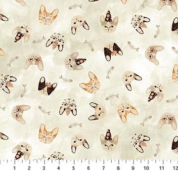 Marcel - Beige Kitty Heads - 1/2m CUT 57277