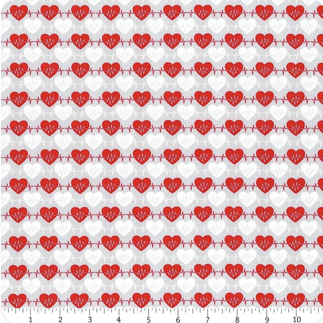 Big Hugs - Grey Heart Beat - 1/2m cut 57215