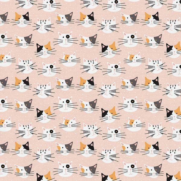 Tails and Whiskers - Cat Heads on Pink - 1/2m cut 57221