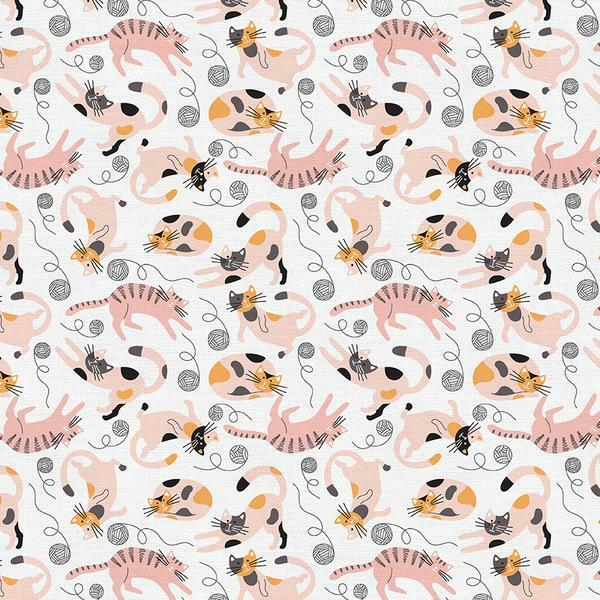 Tails and Whiskers - Lazy Cats on White - 1/2m cut 57224