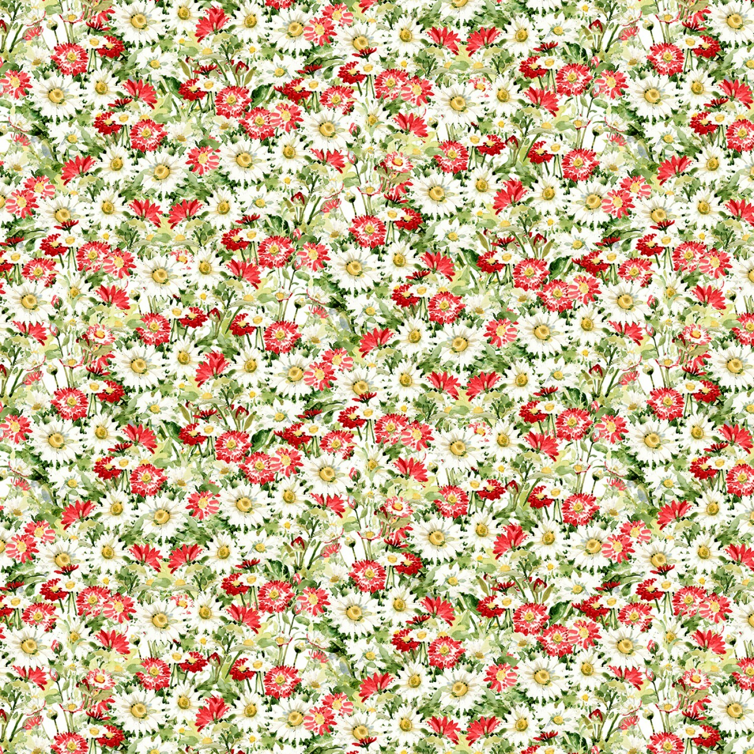 Meadow Bloom - Red Packed Daisies - 1/2m cut 57235