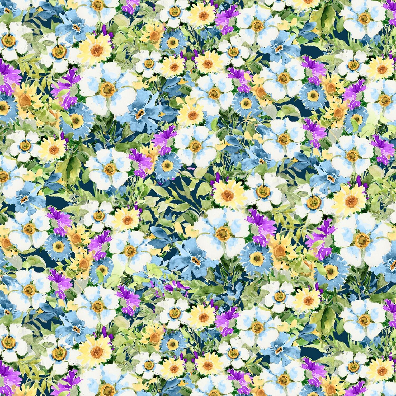Meadow Bloom - Blue Packed Wildflowers - 1/2m cut 57233