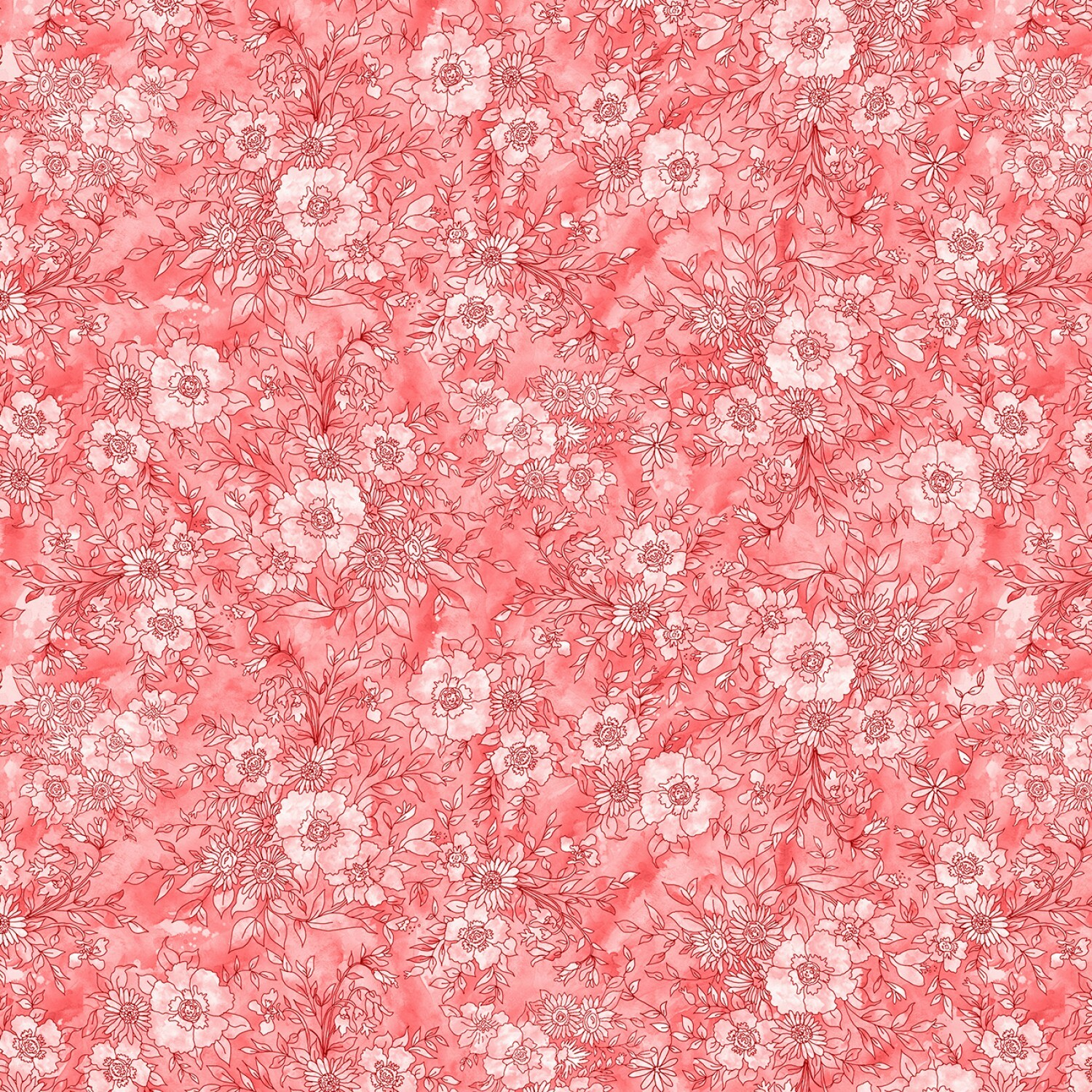 Meadow Bloom - Red Floral Toile - 1/2m cut 57236