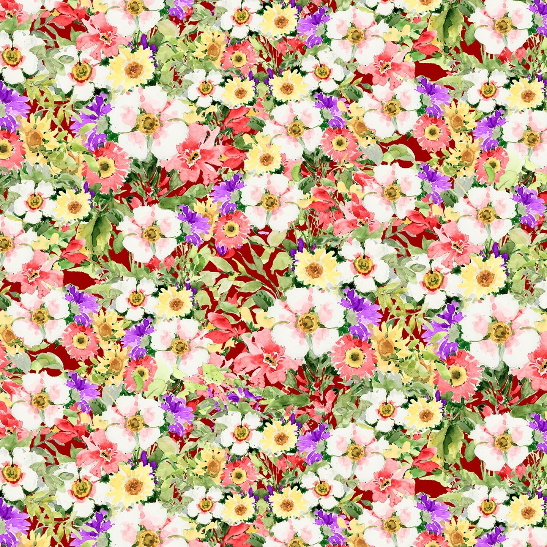 Meadow Bloom - Red Packed Wildflowers - 1/2m cut 57232