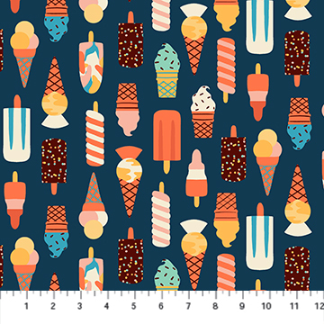 Simple Pleasure - Navy Ice Cream Treats - 1/2m cut 57403