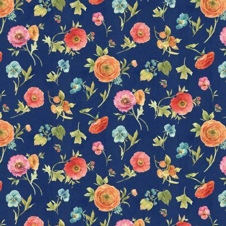 Roots of Love - Navy Floral Toss - 1/2m cut 57426