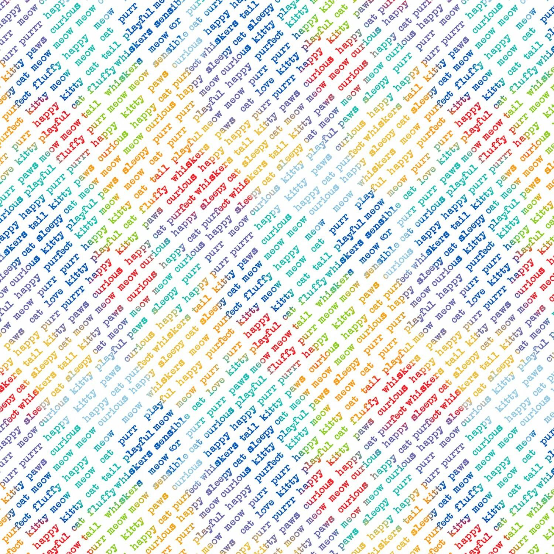 Feeline Good - Rainbow Diagonal Words on White - 1/2m cut 57444