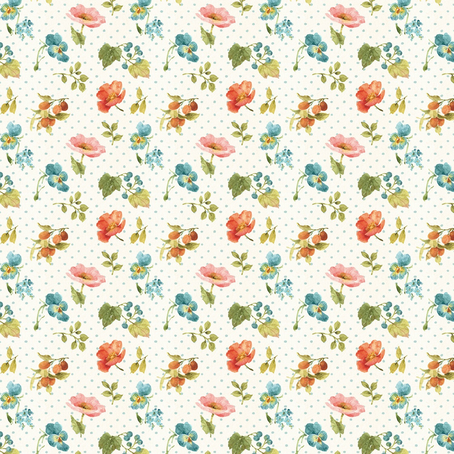 Roots of Love - Ivory Small Floral - 1/2m cut 57427