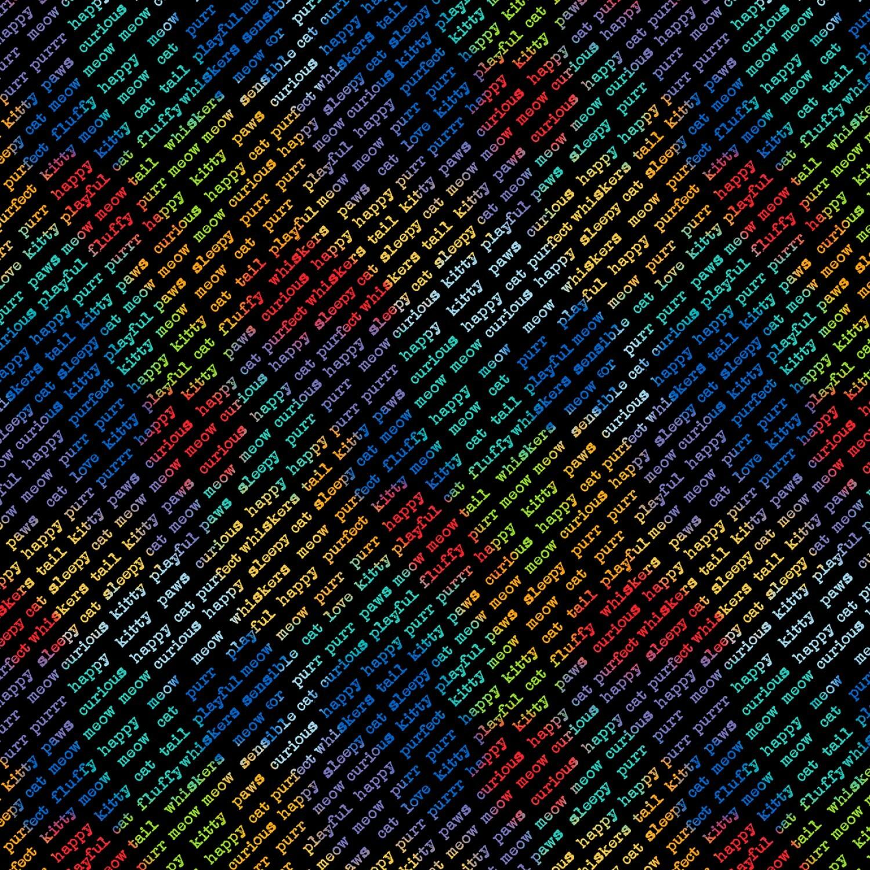 Feeline Good - Rainbow Diagonal Words on Black - 1/2m cut 57445