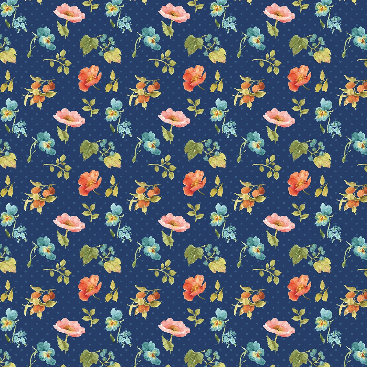 Roots of Love - Navy Small Floral - 1/2m cut 57428