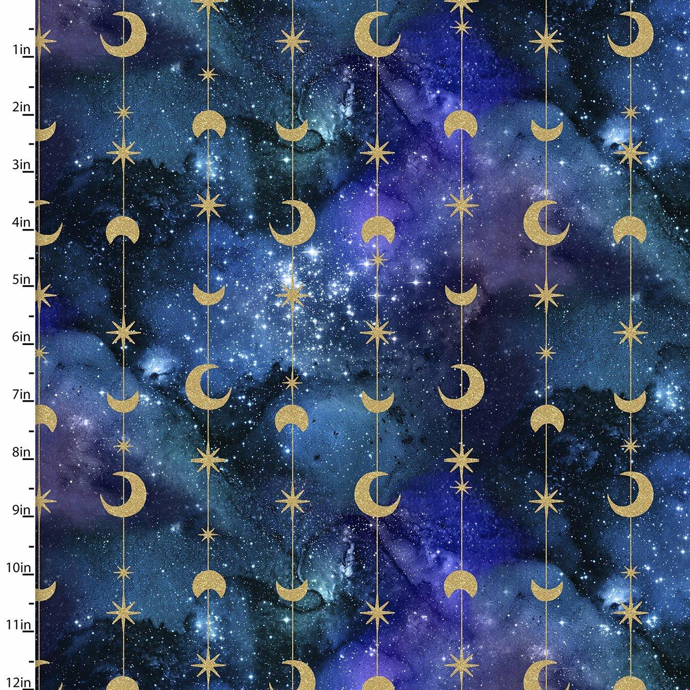 Magical Galaxy - Moon and Stars - 1/2m cut 57493