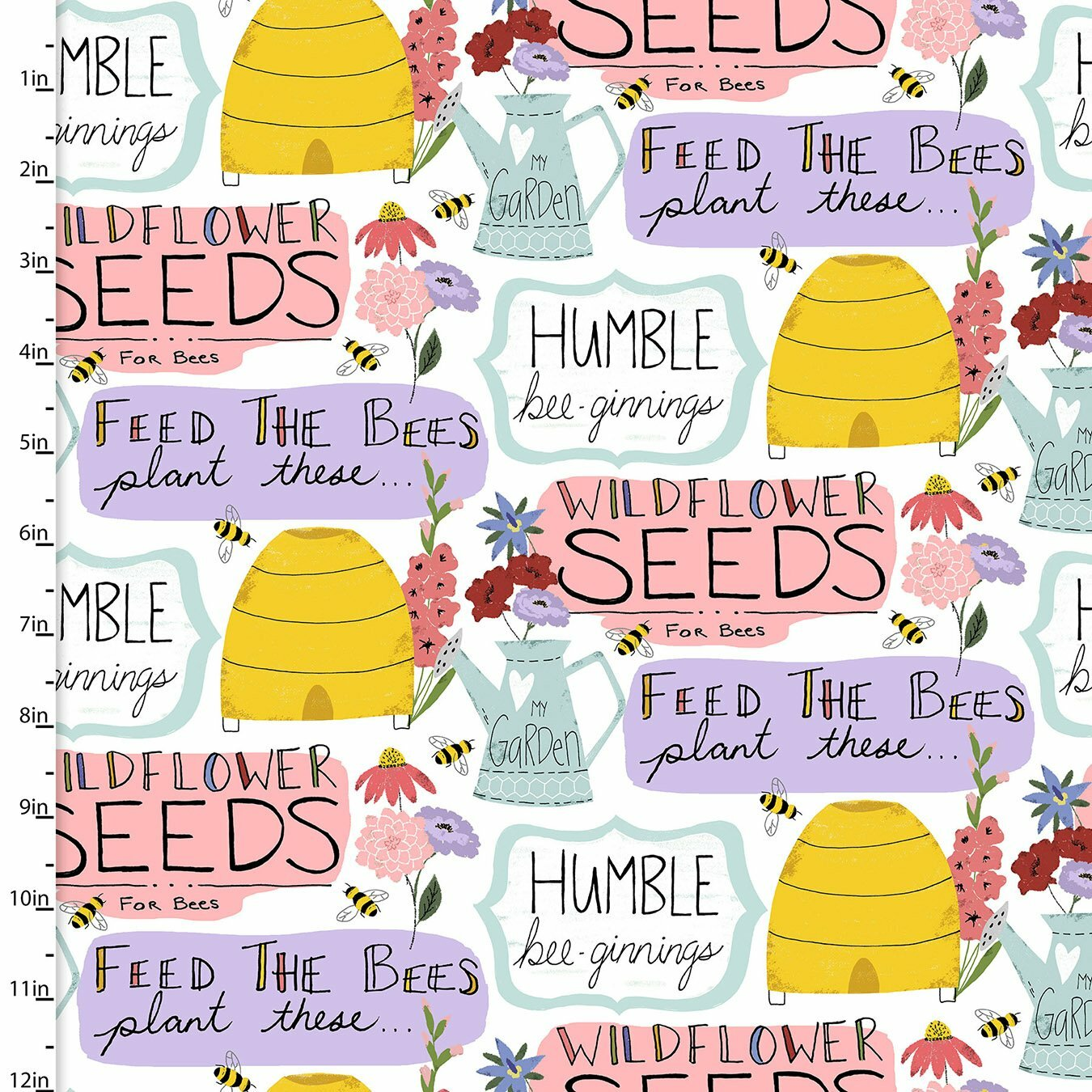 Feed the Bees - White Allover - 1/2m cut 57496