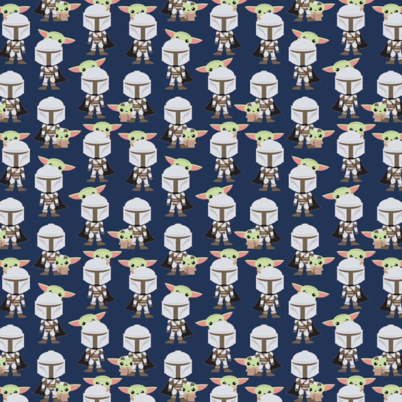 Baby Yoda - Hello Friend - Navy - 1/2m cut 57506