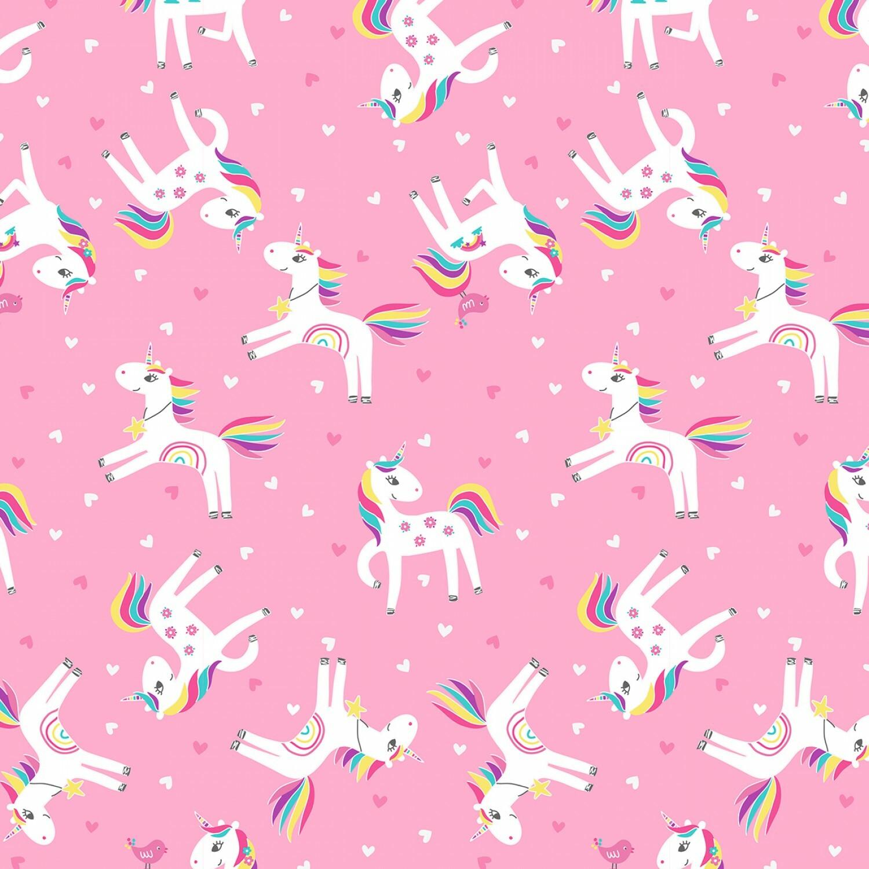 Pink Unicorns - 1/2m cut 57524