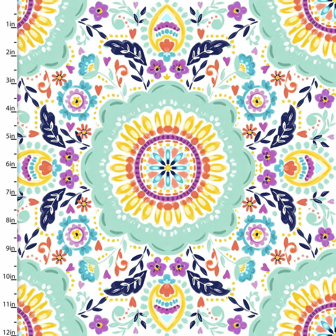 Summer Song - Painted Medallion - 1/2m cut 57557