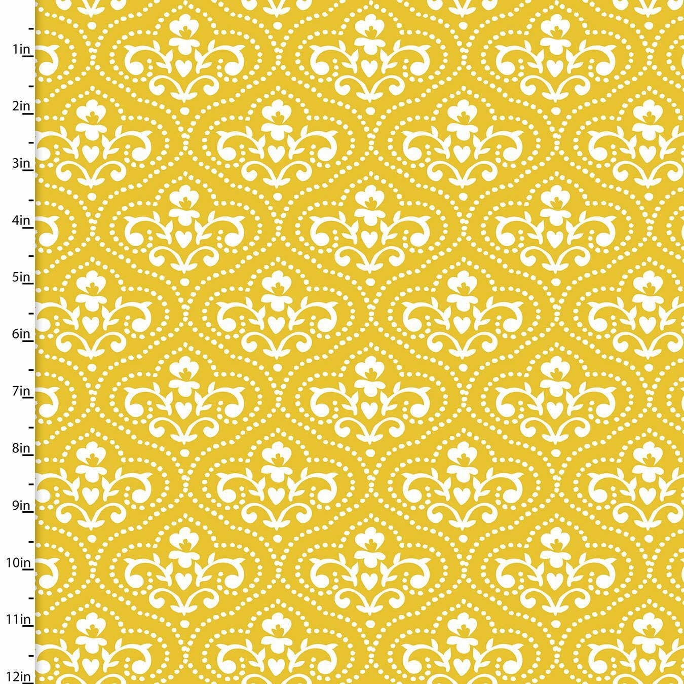 Summer Song - Yellow Toile Damask - 1/2m cut 57552
