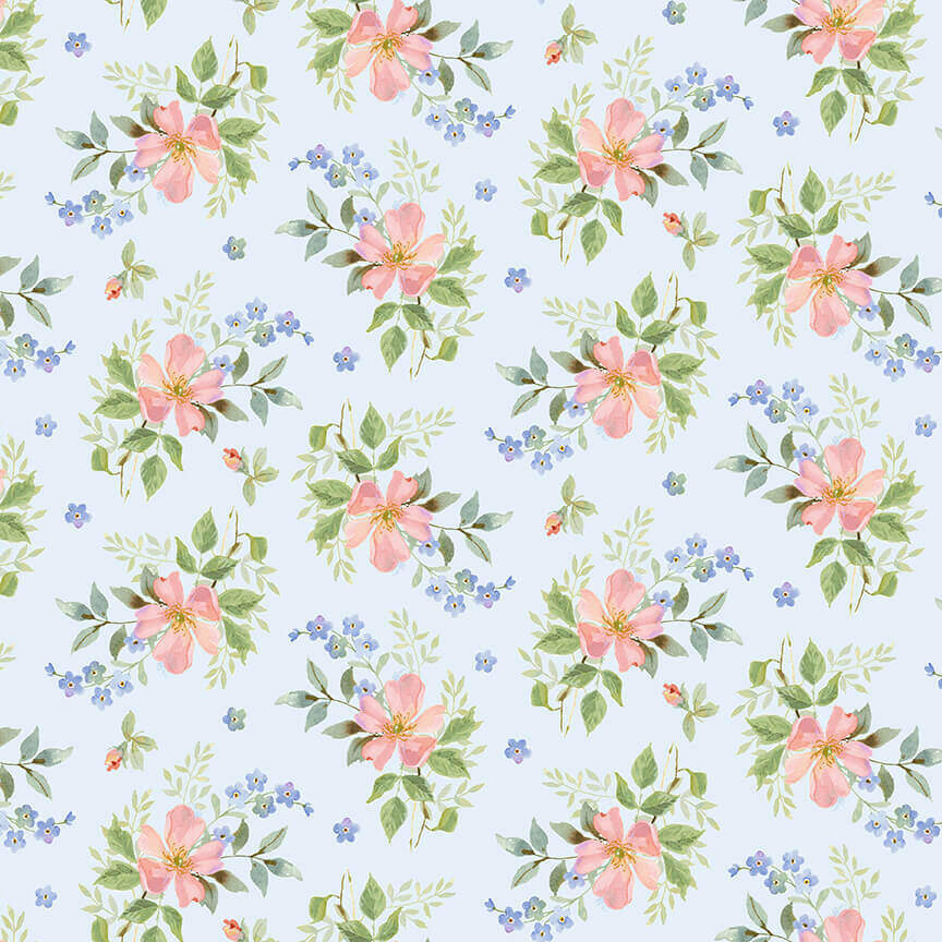 Flowers on Blue - Garden Inspirations - 1/2m cut 57582