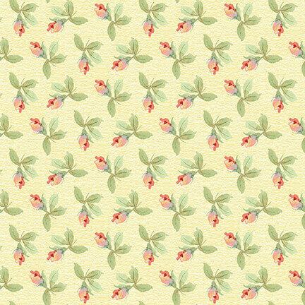 Rosebuds on Yellow - Garden Inspirations - 1/2m cut 57583