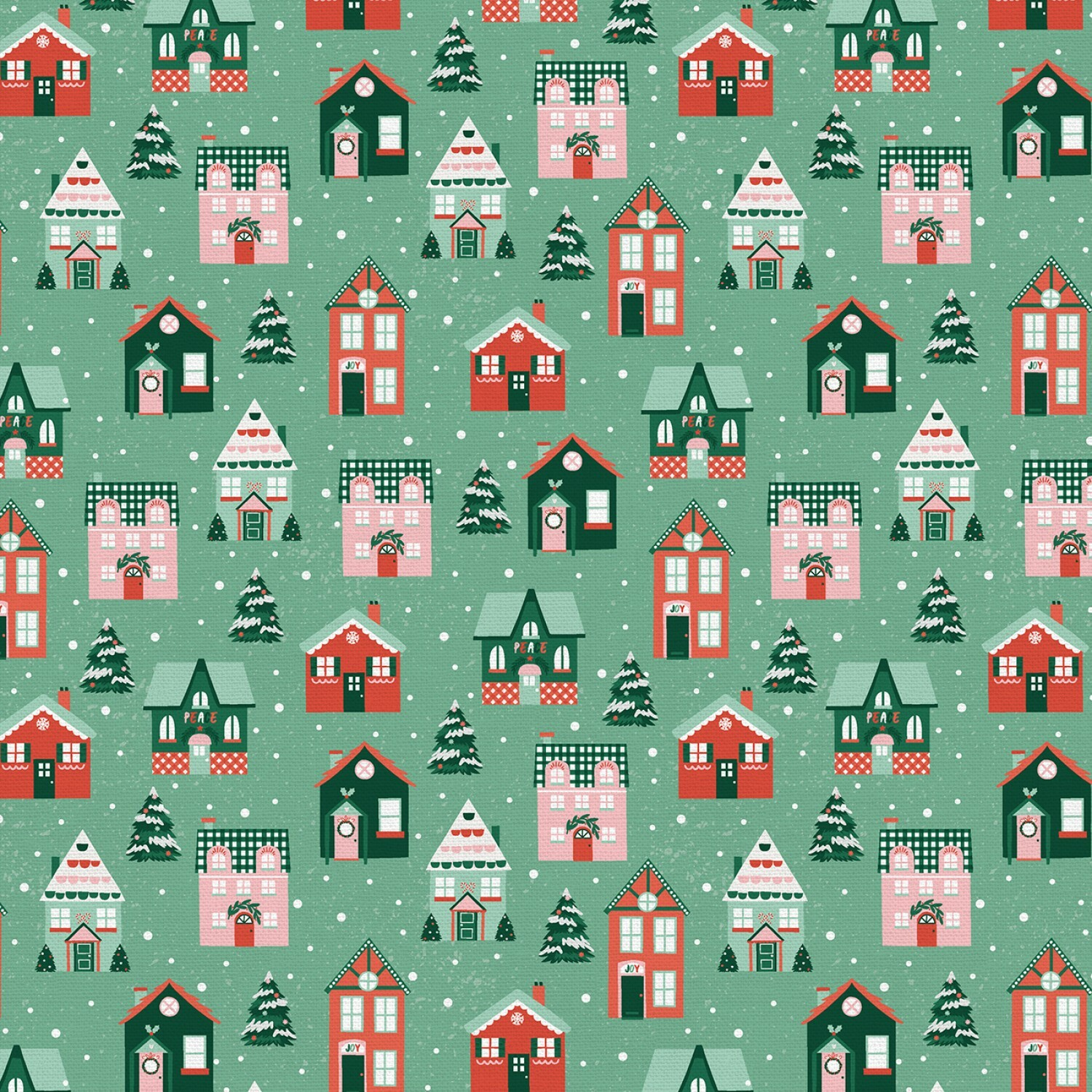 Home for Christmas - Houses on Green - 1/2m cut 57600