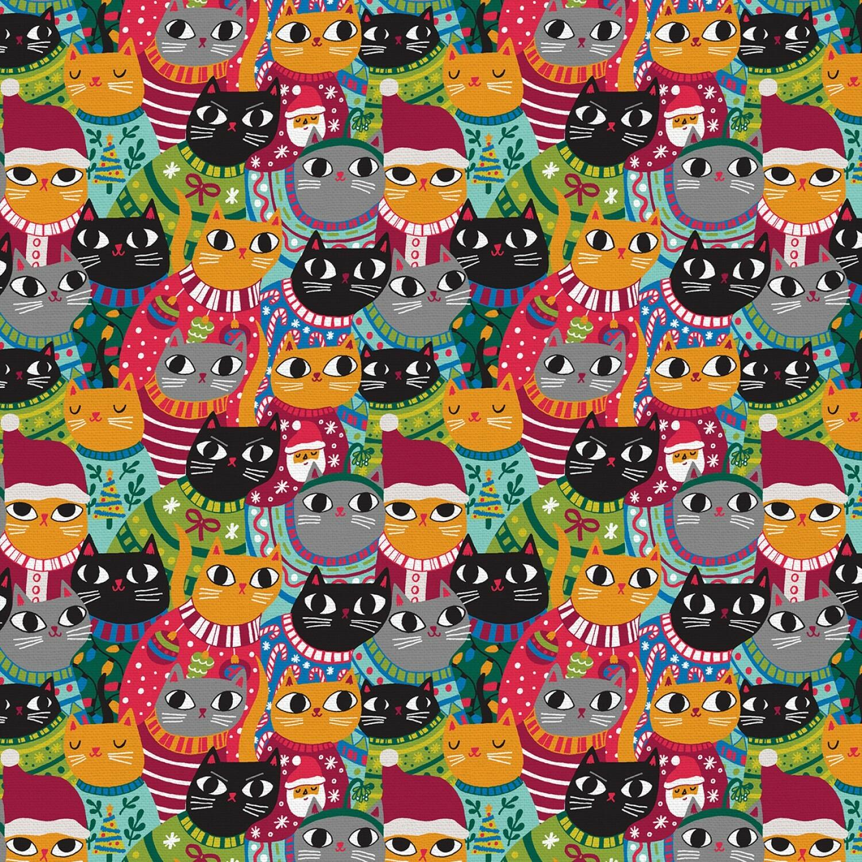 Christmas Sweater Cats - Multi Cats - 1/2m cut 57588